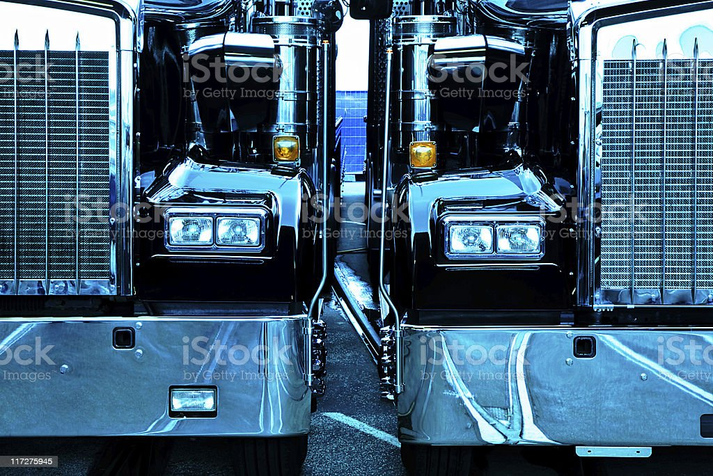 Two Trucks, Front View stock photo