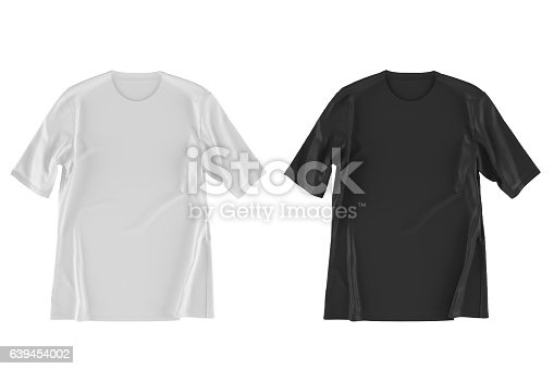 istock two T-shirt isolated on white. 3d render 639454002