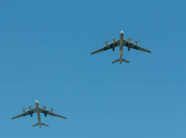 two tu-95 at an air show - aviation and environment summit stock photos and pictures