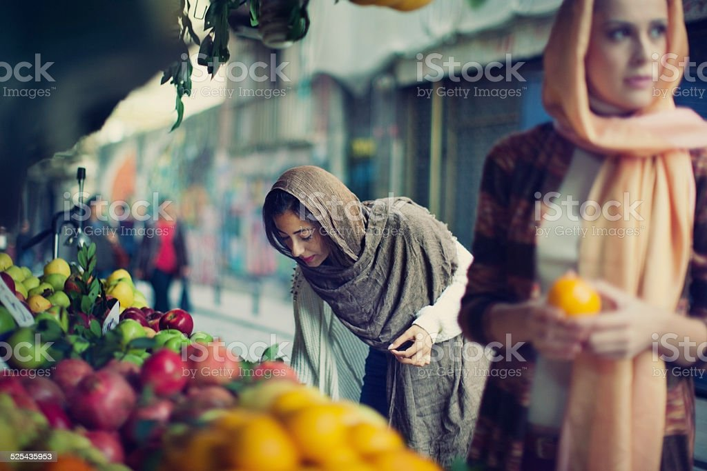 Two Turkish Women Enjoying Shopping stock photo