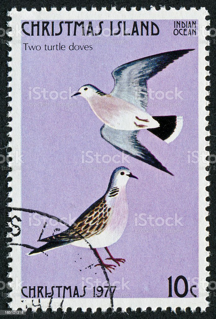 Two Turtle Doves Stamp stock photo