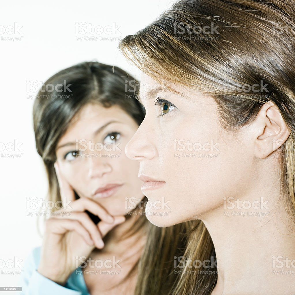 two twin sisters portraits royalty-free stock photo