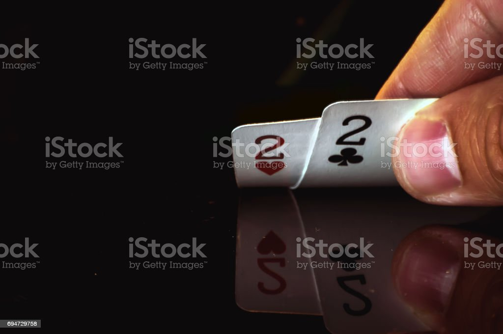 two twos are the lowest cards in the player's hand stock photo