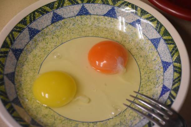 Zwei Arten von Ei mit Eigelb – Foto