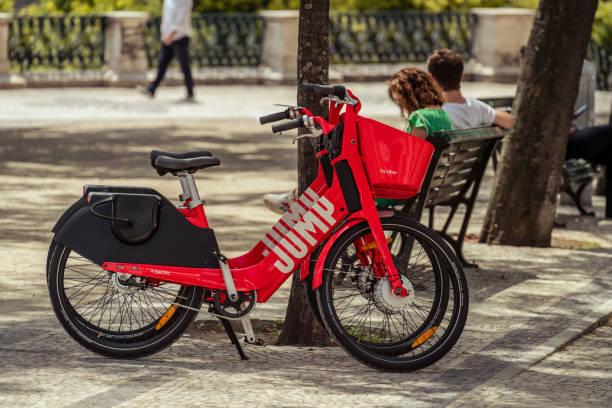 Two Uber-Jump electric bicycle Lisbon stock photo