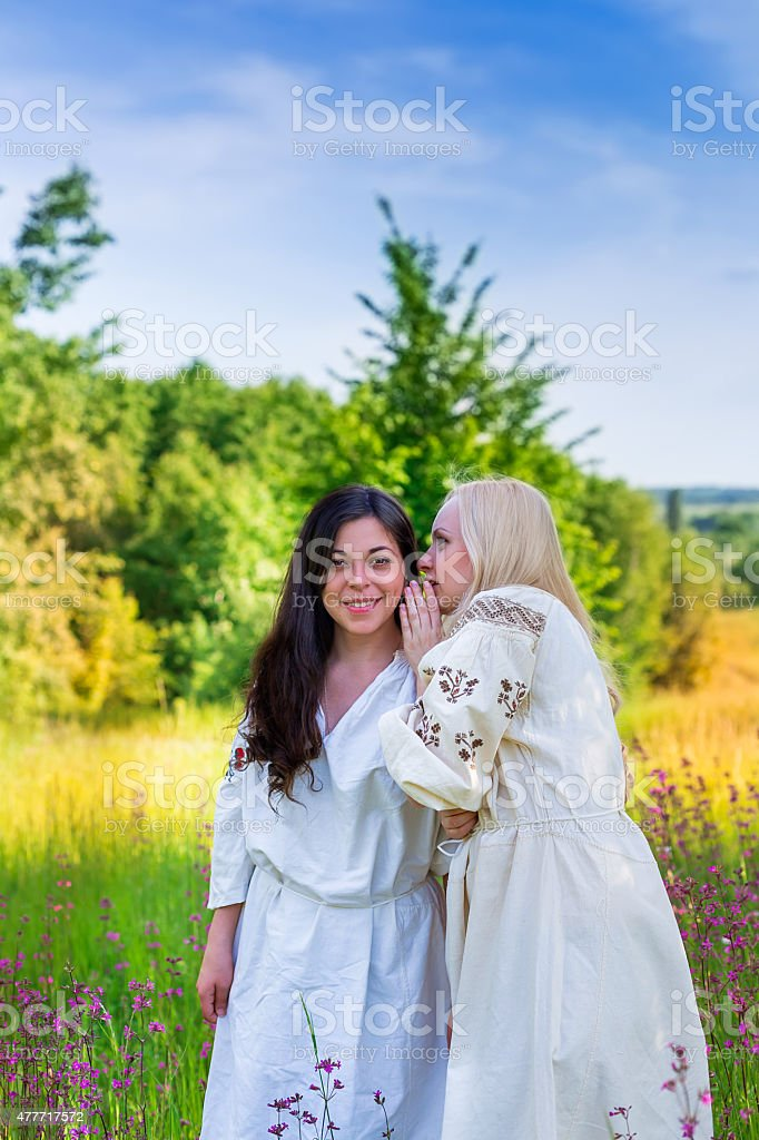 Two ukrainian girls in national costumes at the flower meadow stock photo