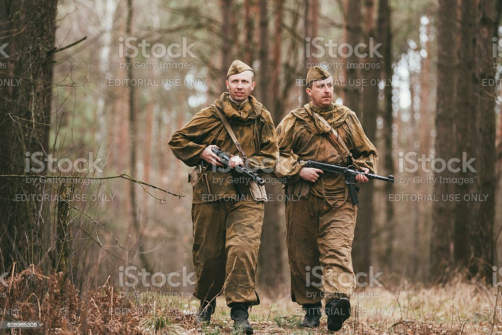 Two unidentified re-enactors dressed as Russian Soviet soldiers stock photo