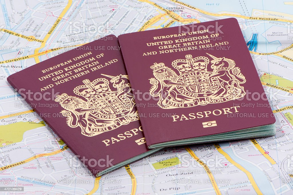 Two United Kingdom Passports stock photo