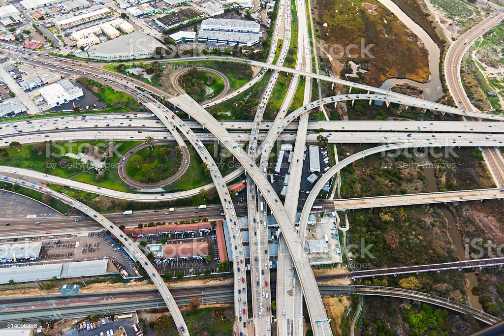 Two Urban Freeways Connecting in Southern California stock photo