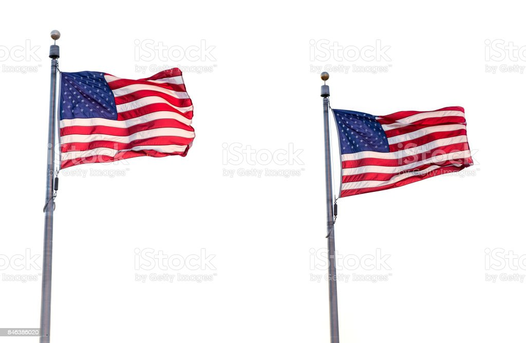 Two US Flags Isolated stock photo
