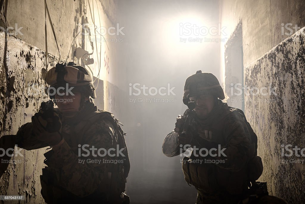 Two U.S. Marines involved in the raid. stock photo