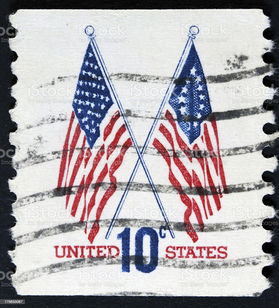 Two usa flags on stamp royalty-free stock photo