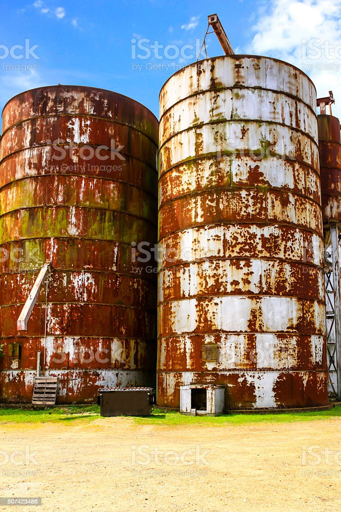 Two Usting Grain Silos In Indianola Mississippi Royalty Free Stock Photo