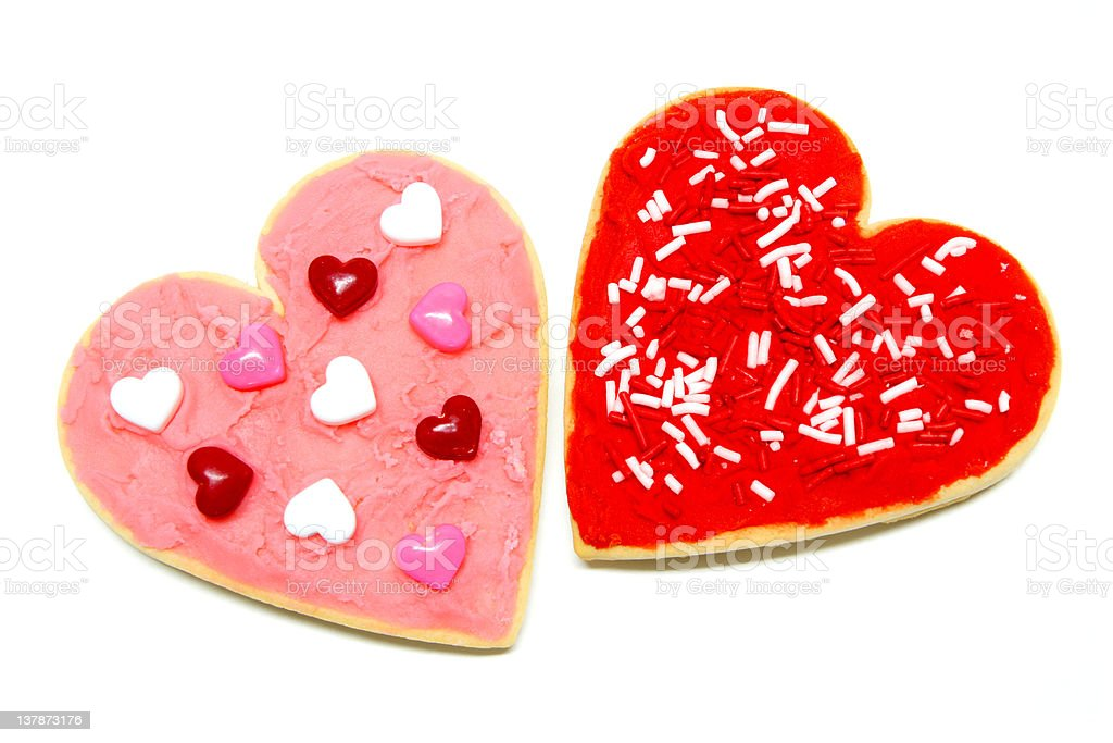 Two Valentines Day cookies over white royalty-free stock photo
