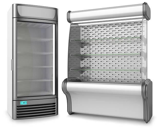 zwei vertikale gefrierschrank kältetechnik schaufenster - kühlraum stock-fotos und bilder
