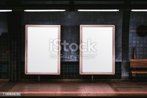 istock Two vertical posters mockup in metro 1135639292