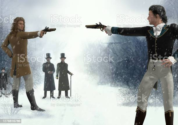 Photo of Two victorian men facing each other in a duel with flintlock pistols