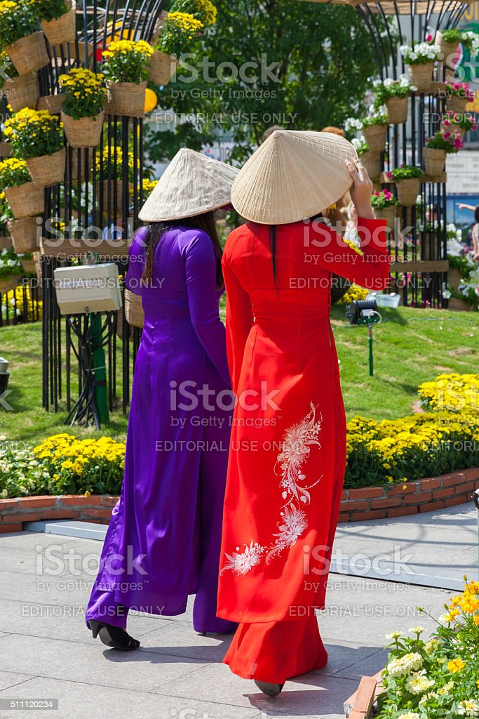 Two Vietnamese women in traditional Ao Dai dress stock photo