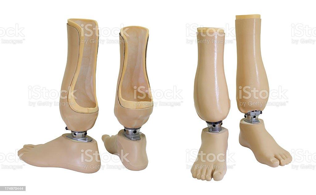 Two views of prosthetic legs stock photo