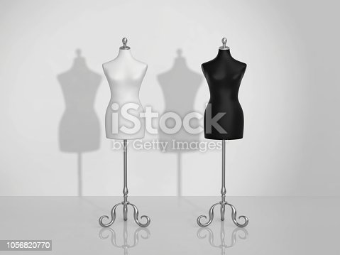 Two vintage mannequins, white and black. 3D rendering