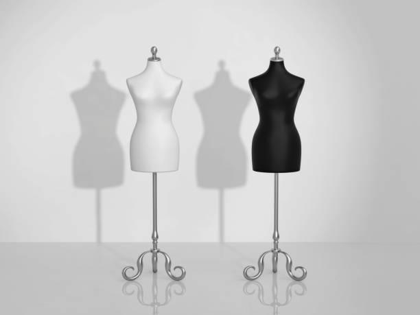 白と黒の 2 つのビンテージ マネキン - マネキン ストックフォトと画像