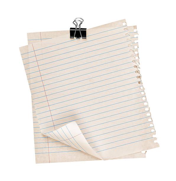 dois vintage folha de papel e agrafadas - folha de caderno imagens e fotografias de stock