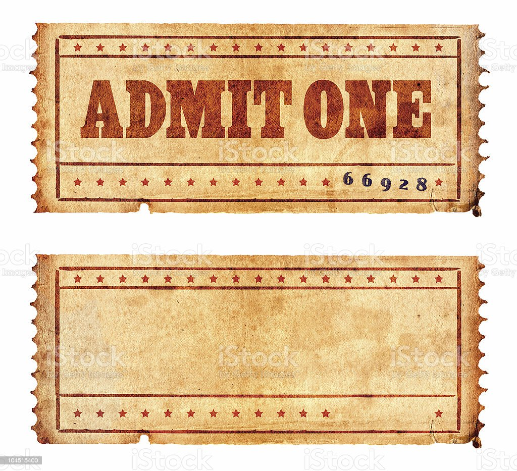 Two vintage tickets stock photo