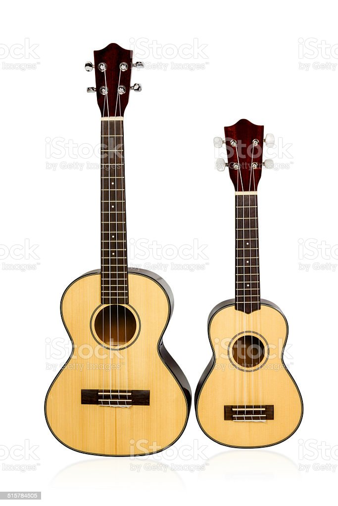 Two vintage Ukulele stock photo