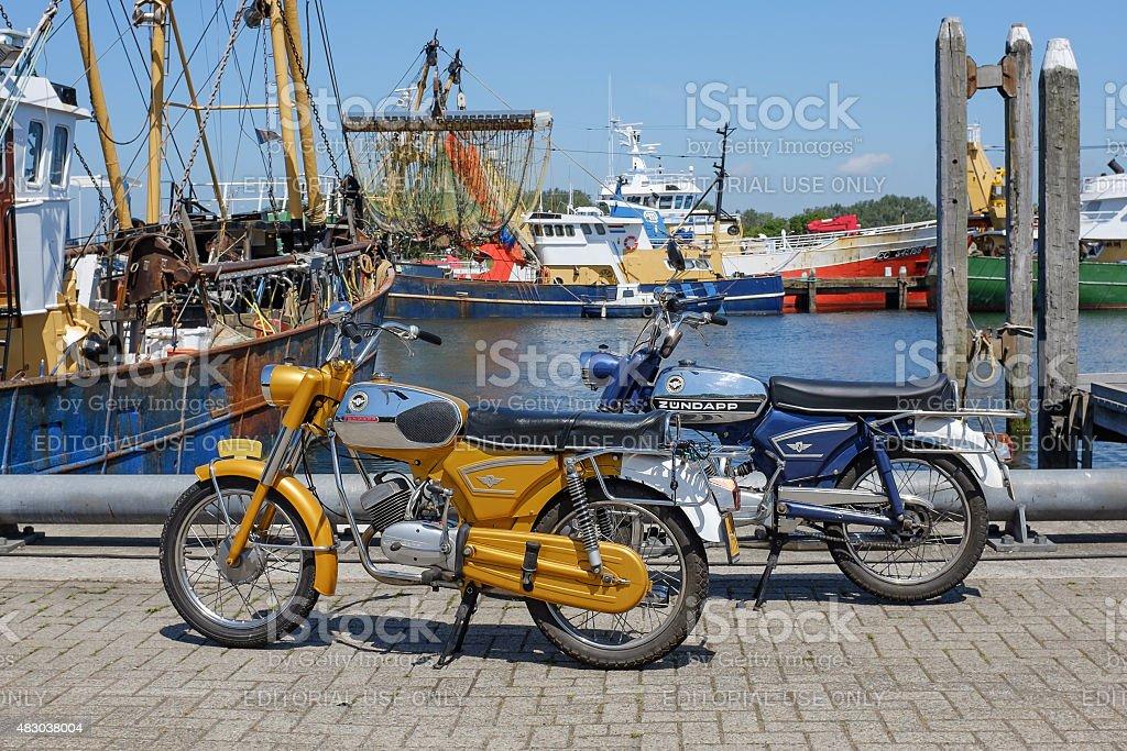 Two vintage Zundapp motorbikes stock photo