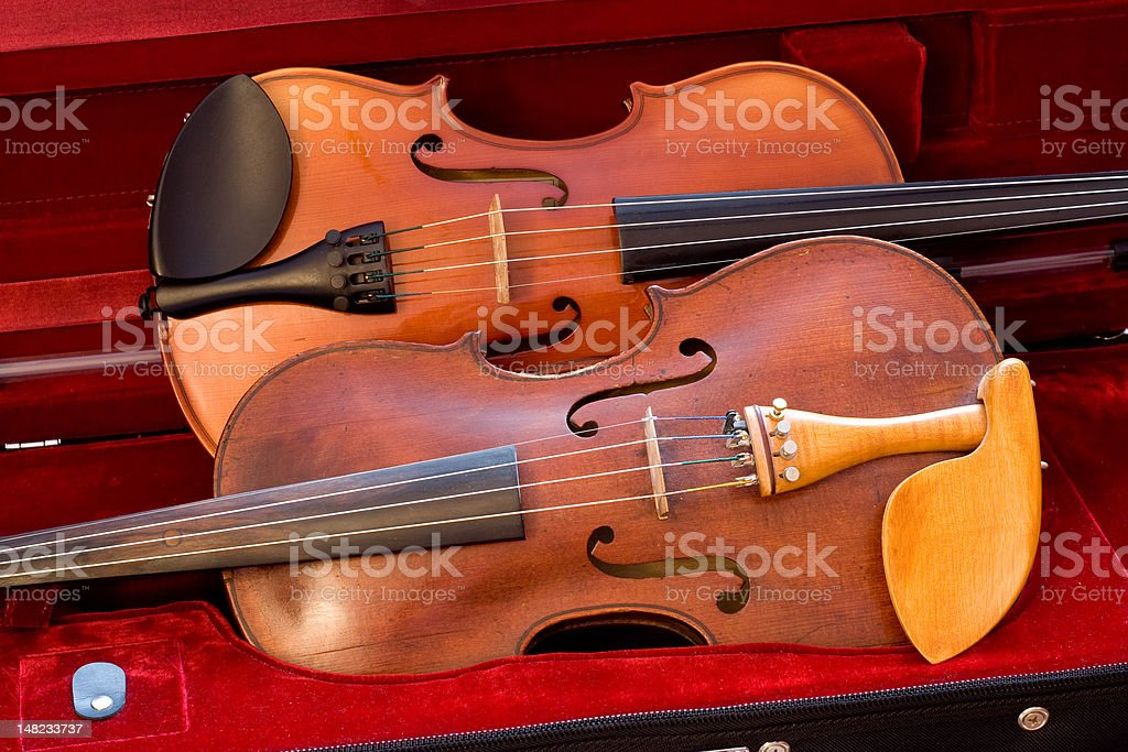 Two violins resting in case stock photo