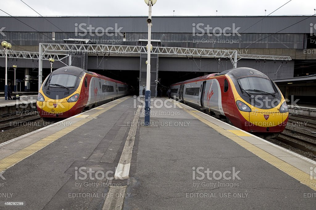 Two Virgin Pendolino Trains at London Euston Station stock photo