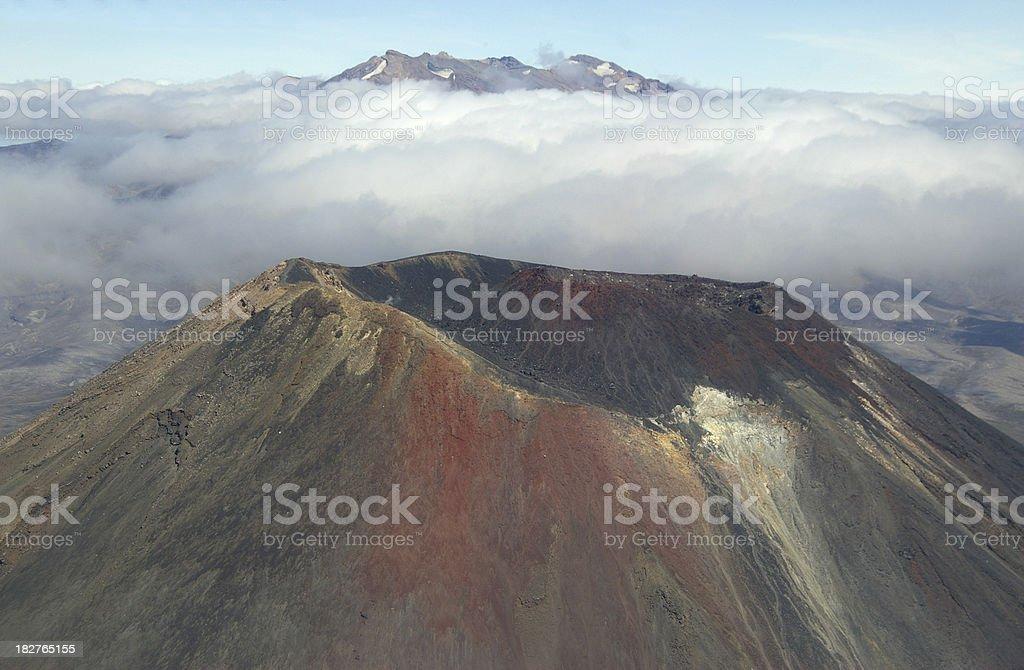 two volcanoes stock photo