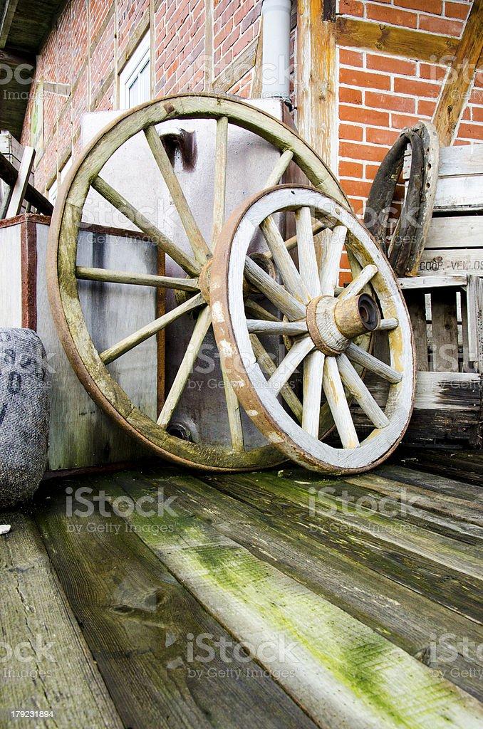 Two wagon wheels royalty-free stock photo