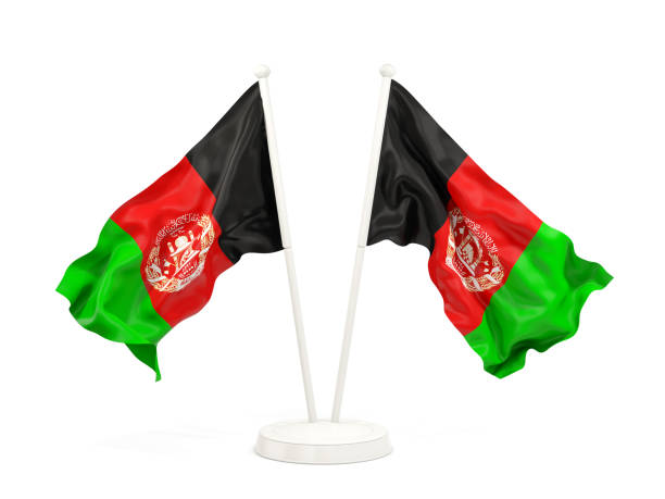 Two waving flags of afghanistan stock photo