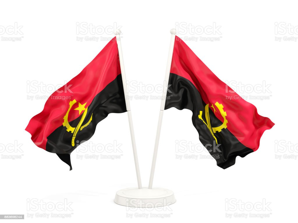 Two waving flags of angola stock photo