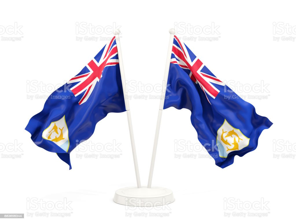 Two waving flags of anguilla stock photo