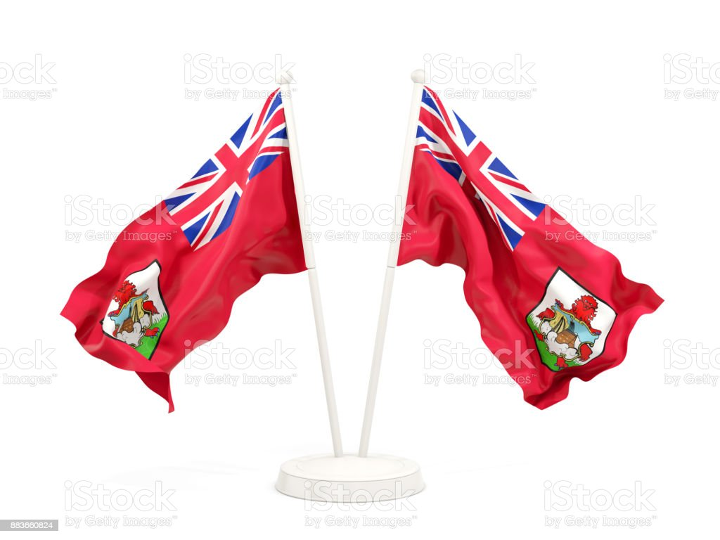 Two waving flags of bermuda stock photo