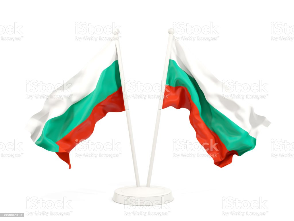Two waving flags of bulgaria stock photo