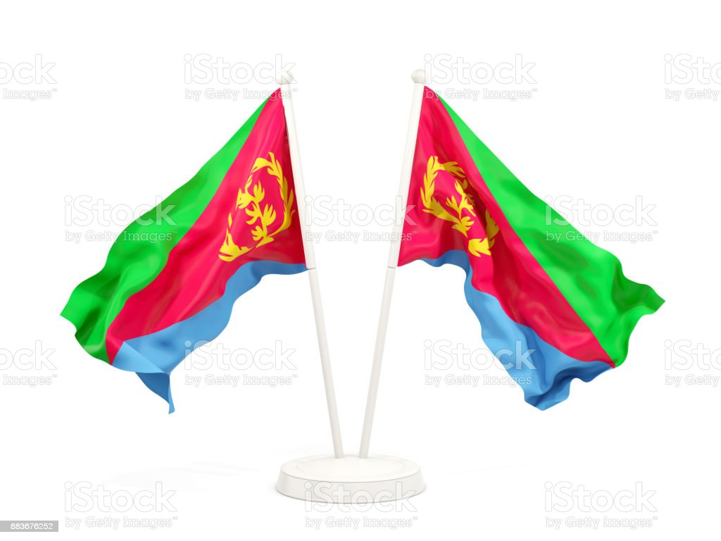 Two waving flags of eritrea stock photo