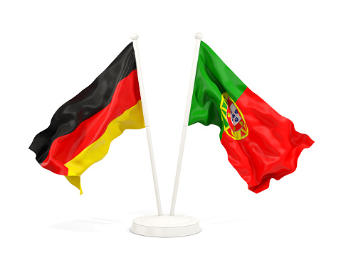 Two waving flags of Germany and portugal isolated on white. 3D illustration