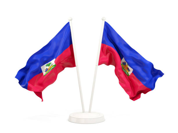 Two waving flags of haiti Two waving flags of haiti isolated on white. 3D illustration Haiti Flag stock pictures, royalty-free photos & images