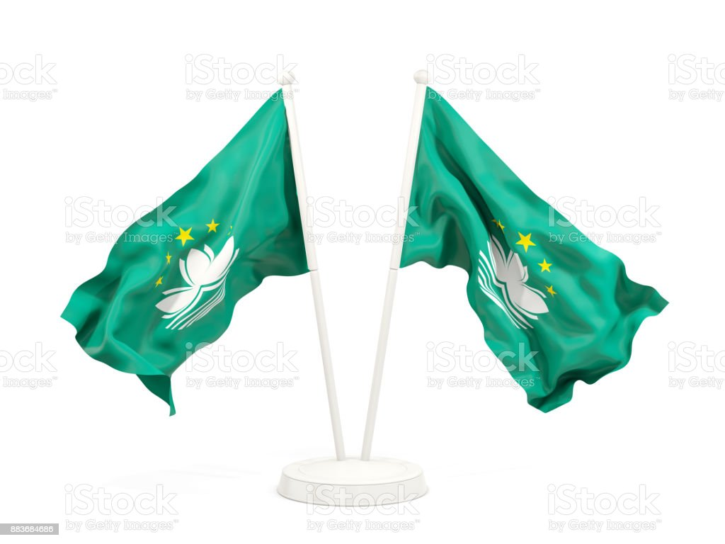 Two waving flags of macao stock photo