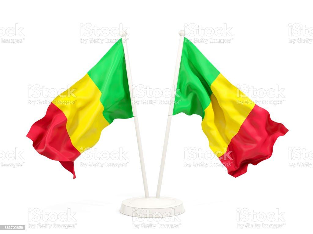 Duas bandeiras de ondulação do mali - foto de acervo