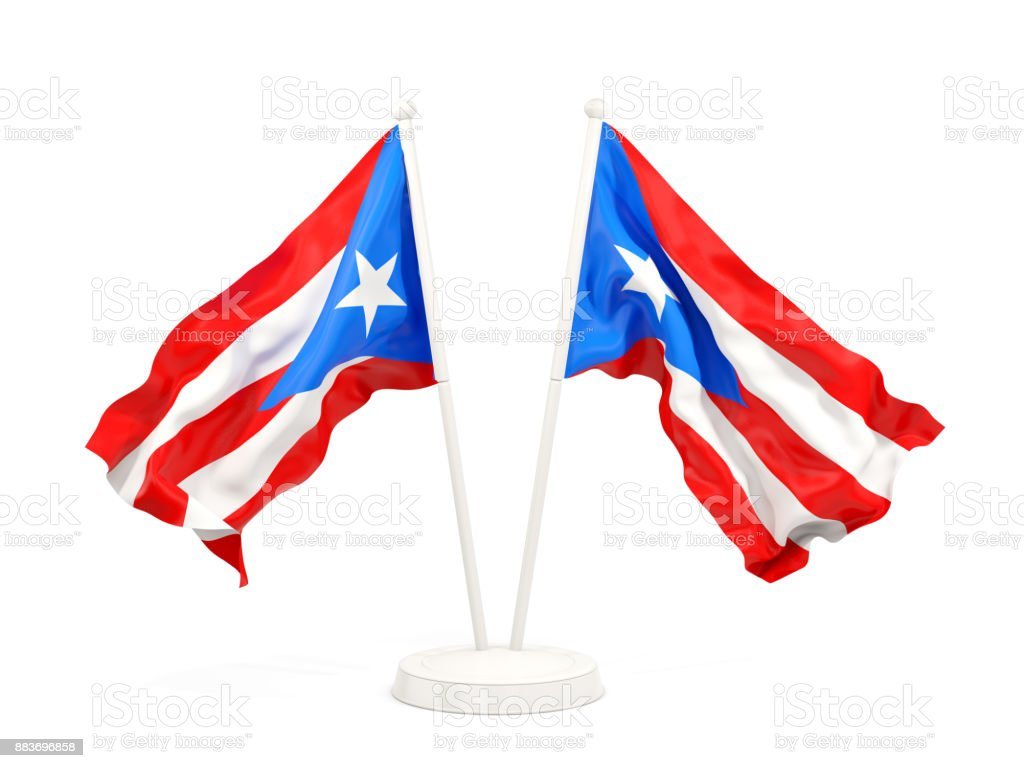 Two Waving Flags Of Puerto Rico Stock Photo Download Image Now