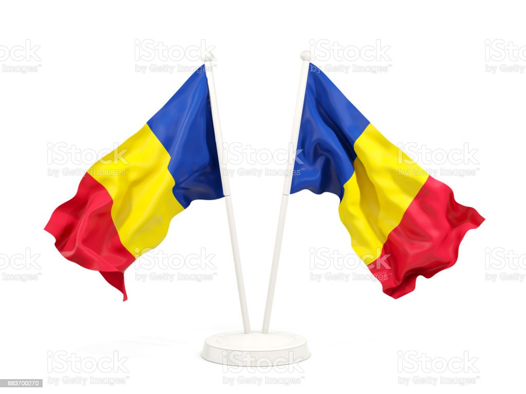 Two waving flags of romania stock photo