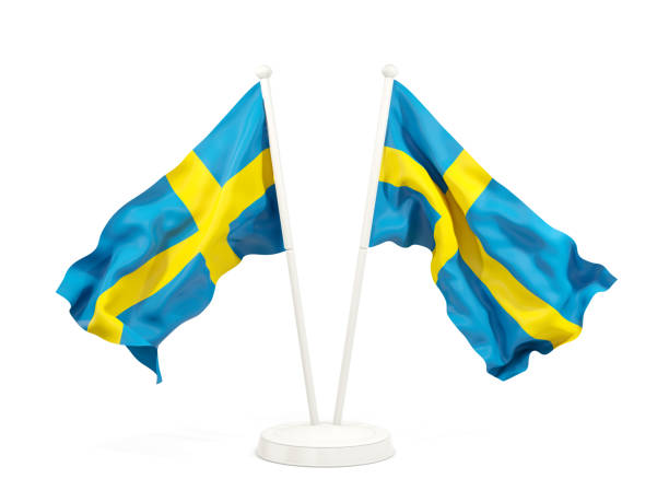 Dois agitando bandeiras da Suécia - foto de acervo