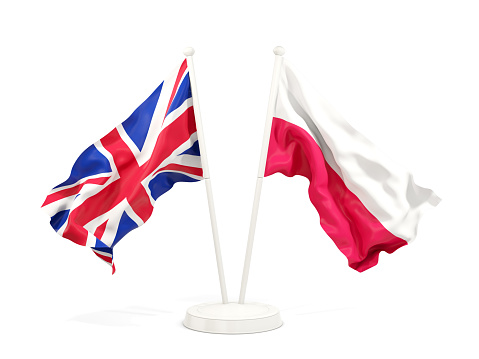 Two waving flags of UK and poland isolated on white. 3D illustration