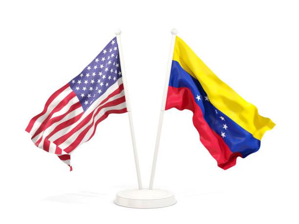 two waving flags of united states and venezuela - venezuelan flag stock photos and pictures