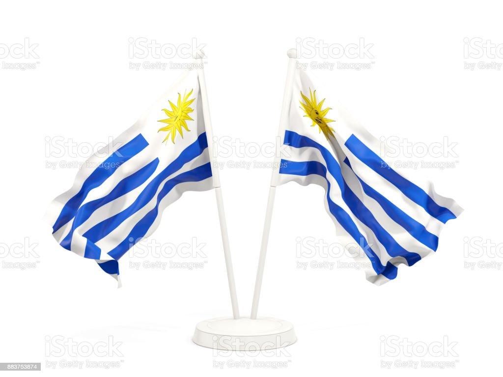 Dos banderas que agitan de uruguay - foto de stock