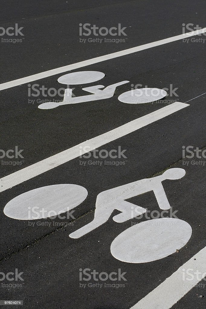 Two way bicycle lane markings royalty-free stock photo